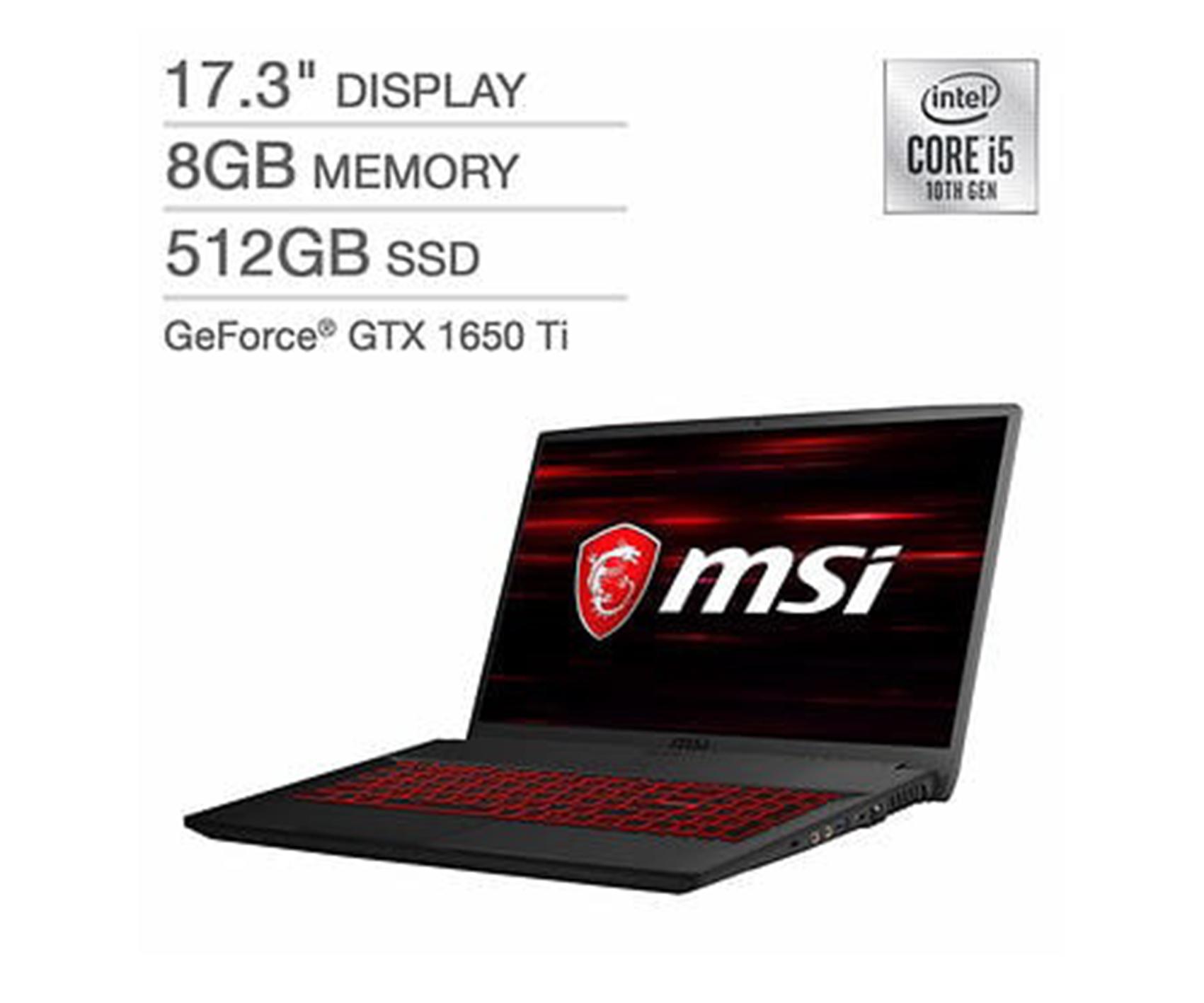 MSI GF75 Thin Gaming Laptop - 10th Gen Intel Core i5-10300H - GeForce GTX 1650Ti - 144Hz 1080p Display