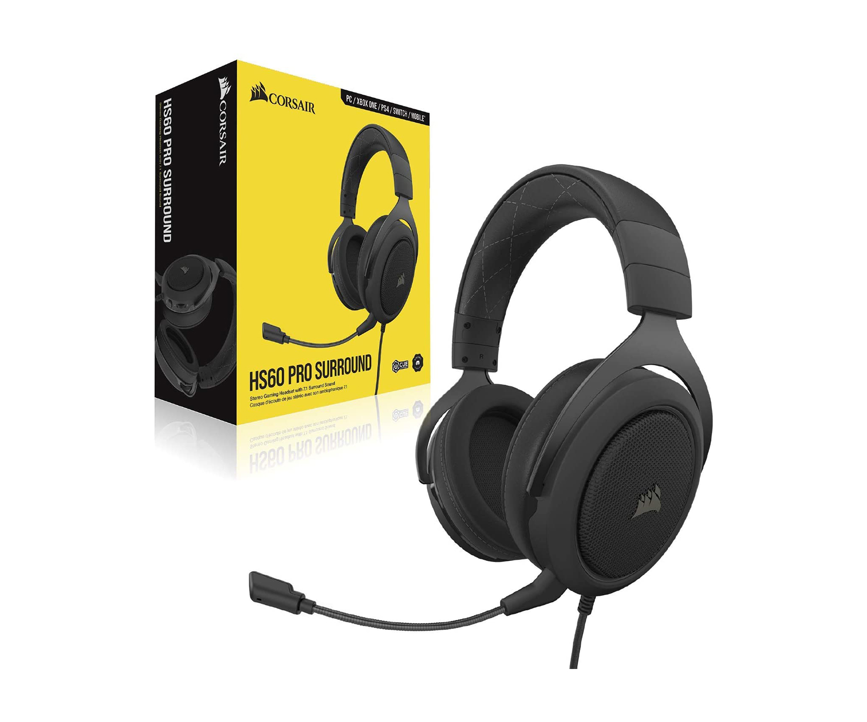 Corsair HS60 PRO SURROUND 7.1 Gaming Headset — Carbon