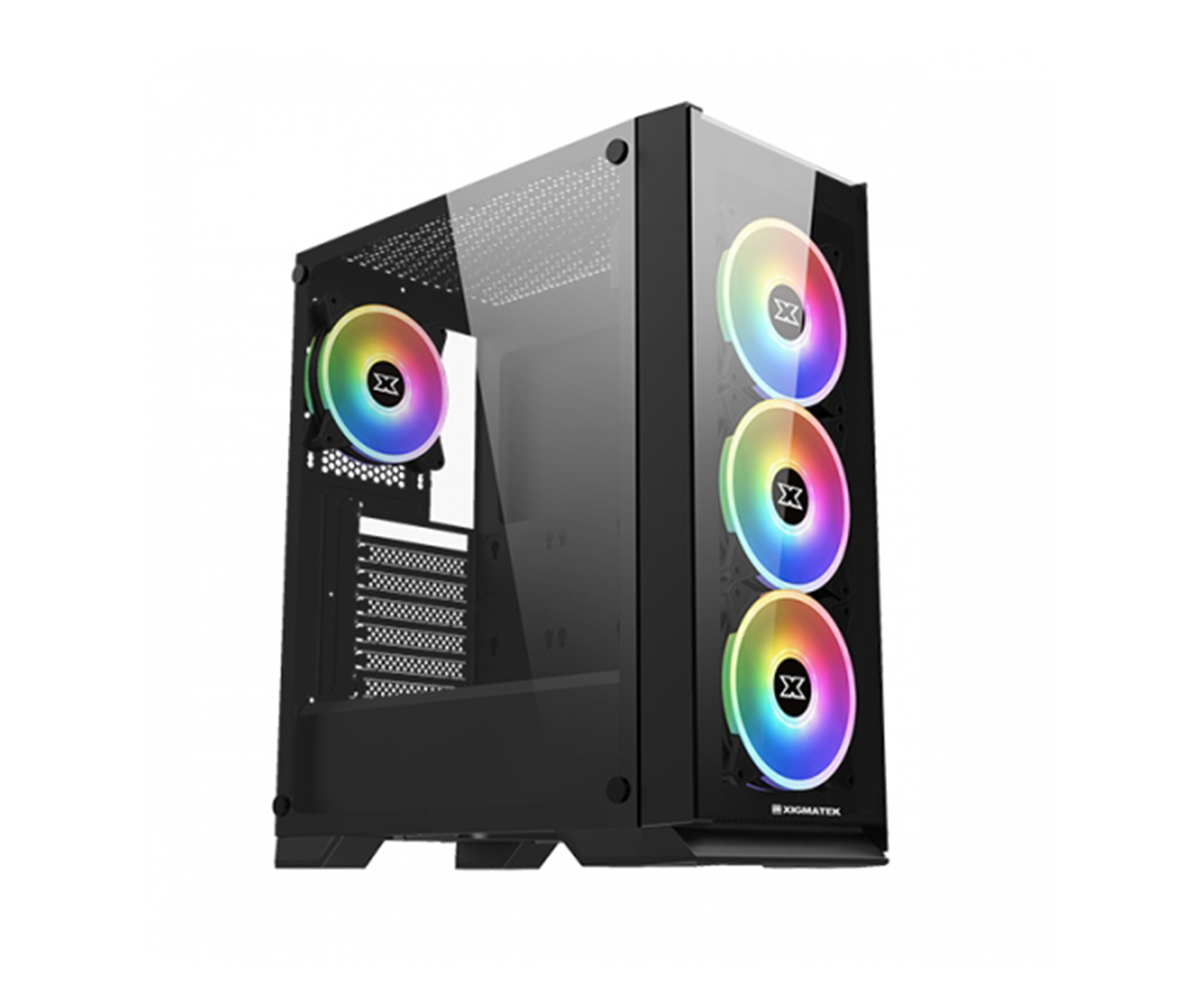 XIGMATEK Sirocon III Black With 4 RGB Fans Gaming Case + 600W 80 PLUS